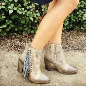 Diba True - Jilly Ann - Beige Leather Fringe Boot